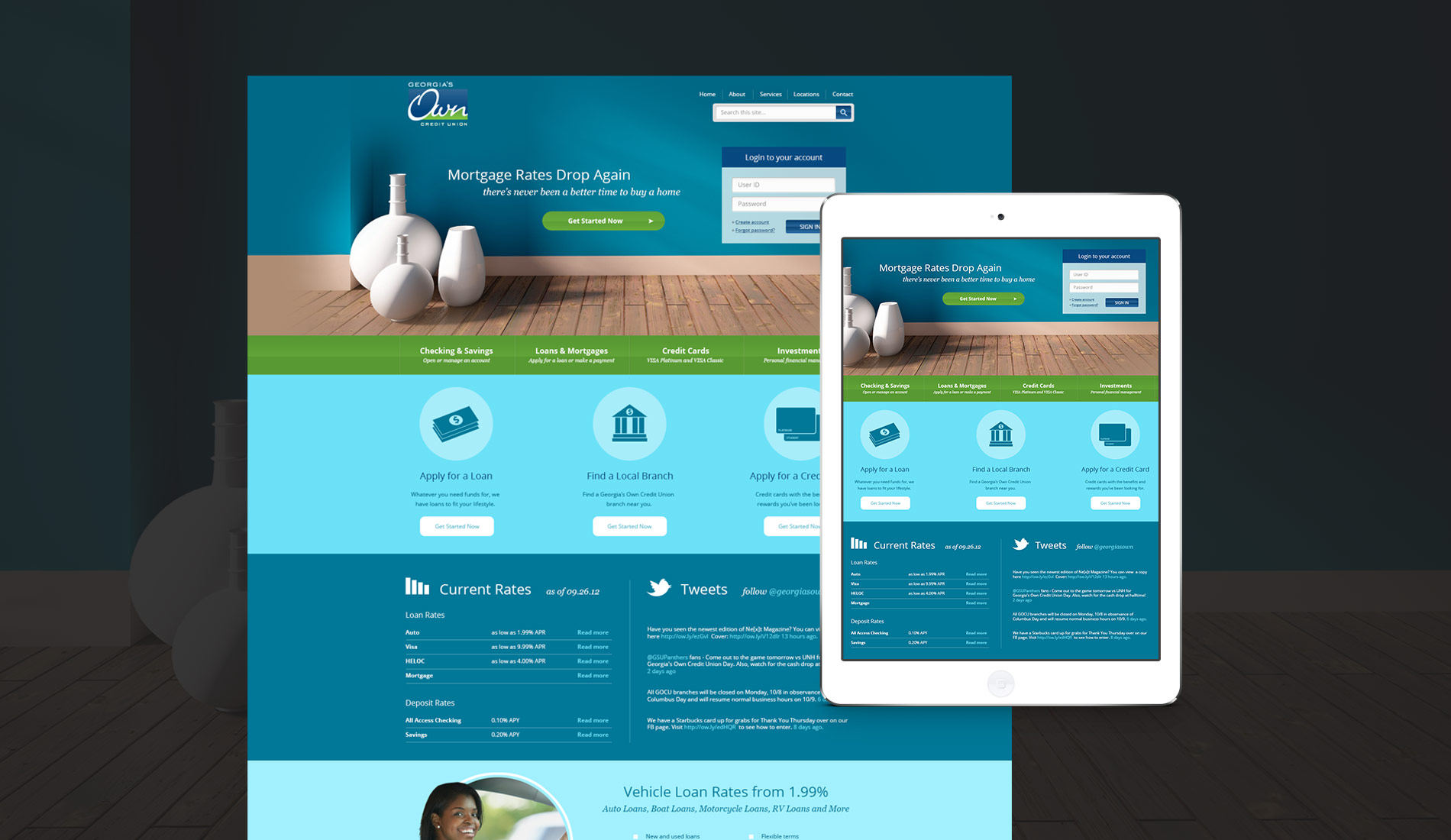 Web design for a banking institution