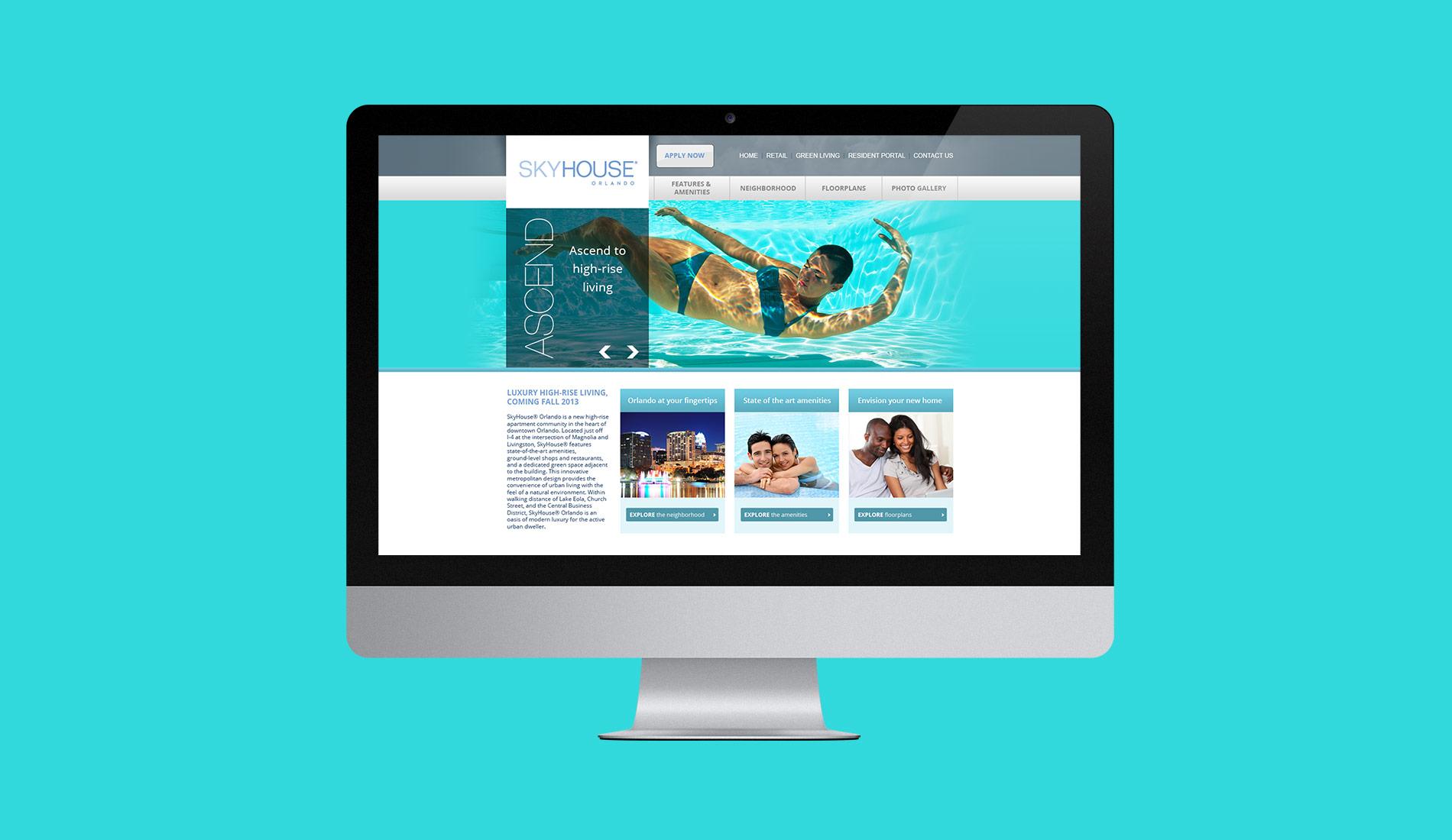 Web design for SkyHouse Orlando