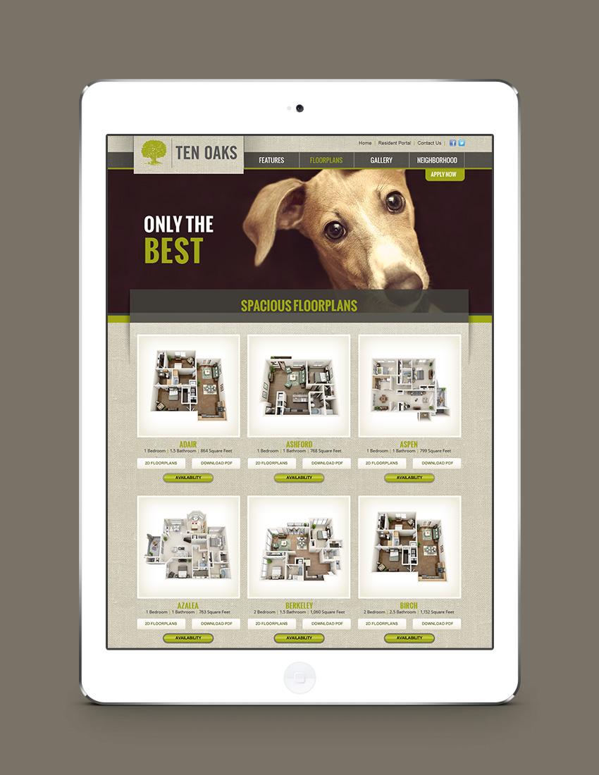 Web design for Ten Oaks Apartment Homes