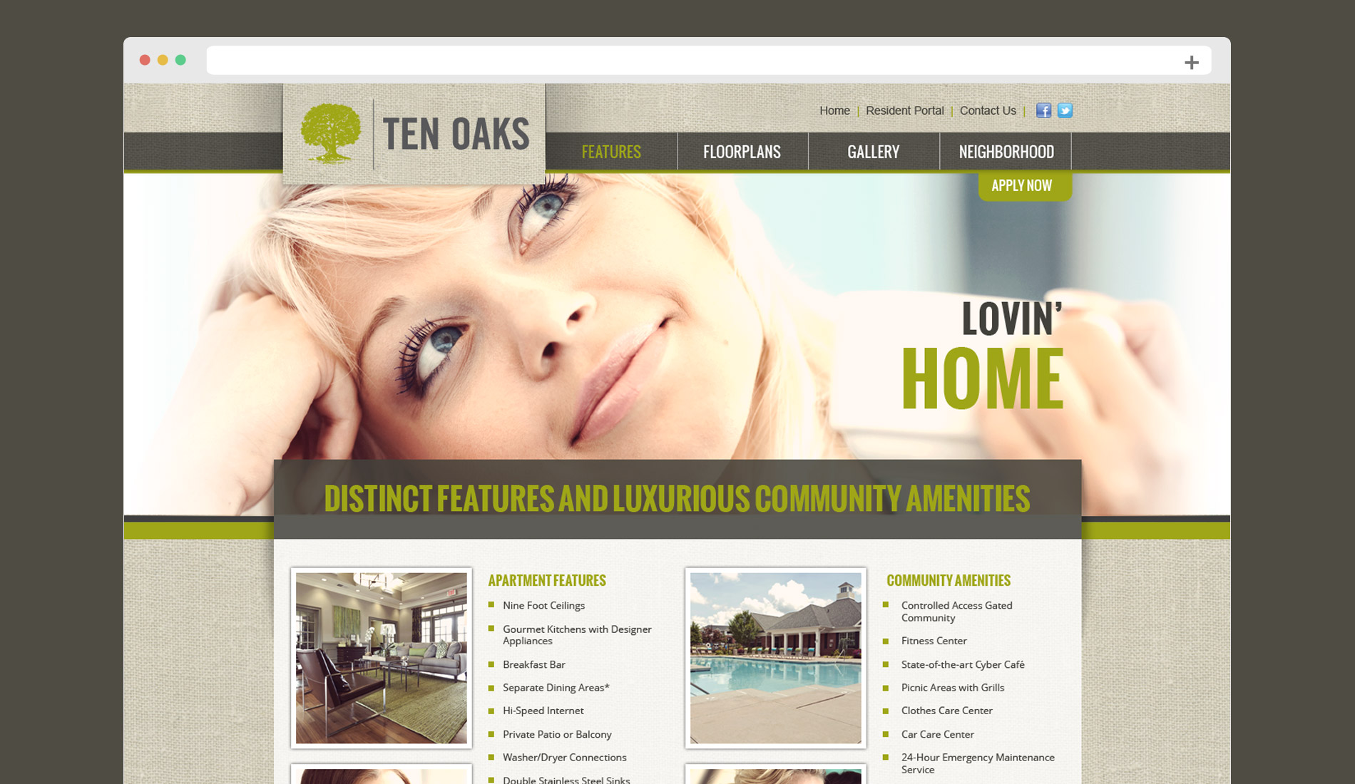 Web design for a luxury apartment community