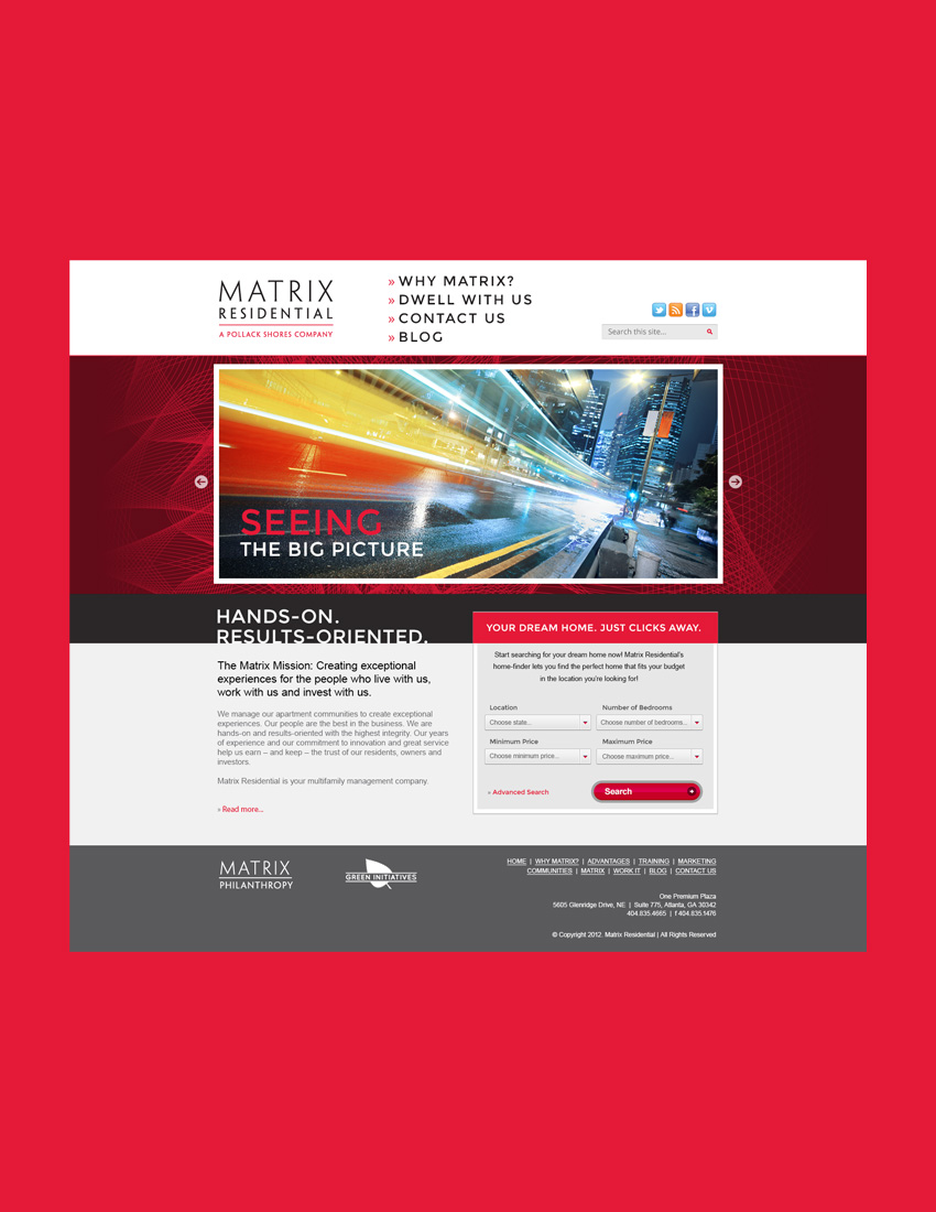 Web design for Matrix Residential's corporate website and property search