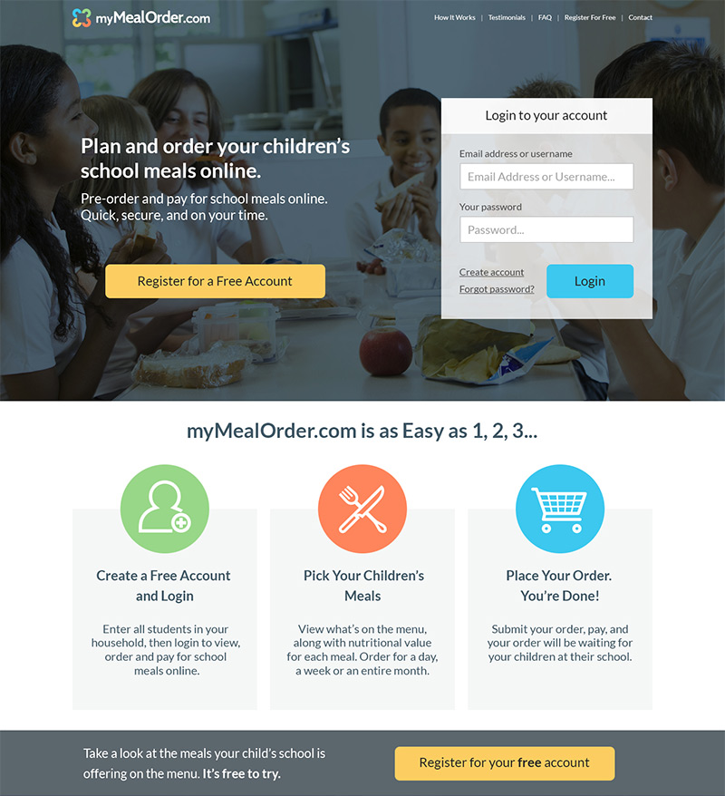 A landing page for a school meal purchasing app