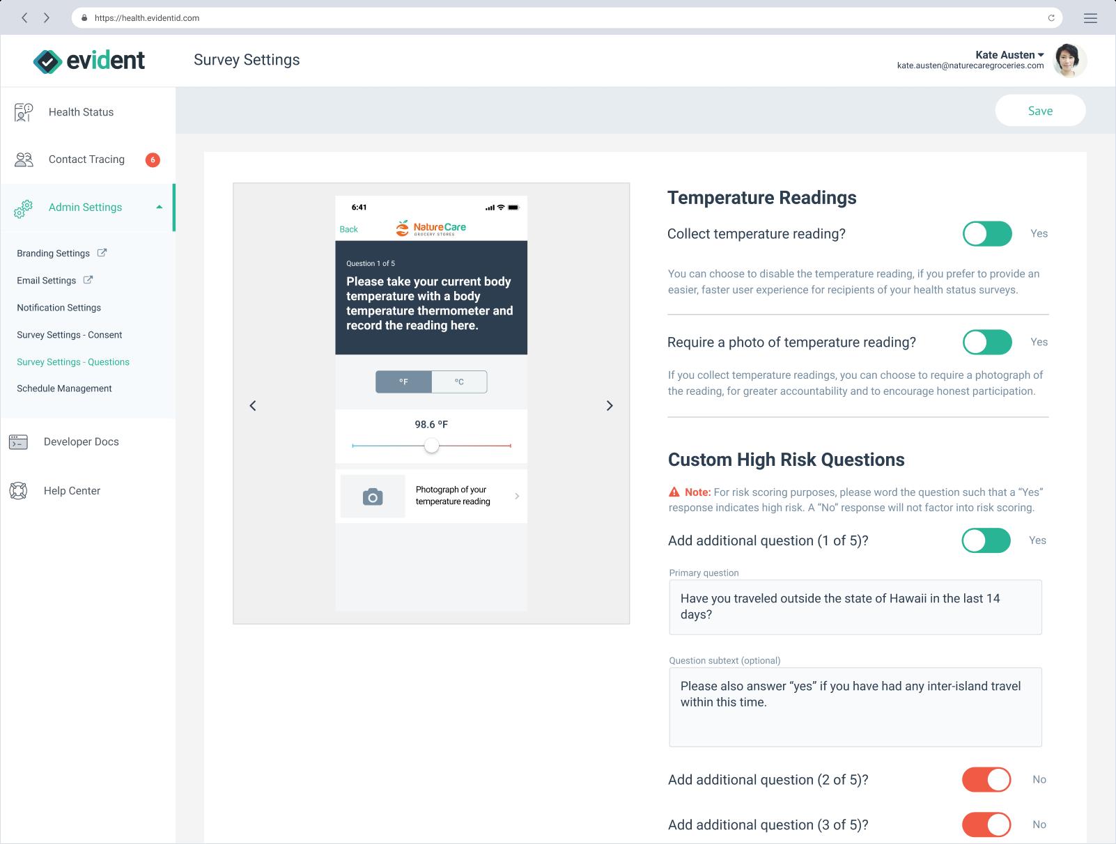 COVID-19 monitoring admin settings
