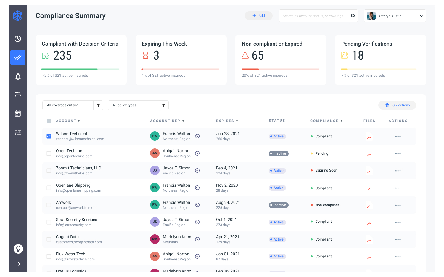 Light mode for the insurance compliance verification dashboard